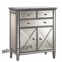 Silver Mirrored Sideboard Cabinet , Wooden Trimming Mirrored Sideboard Buffet Manufactures