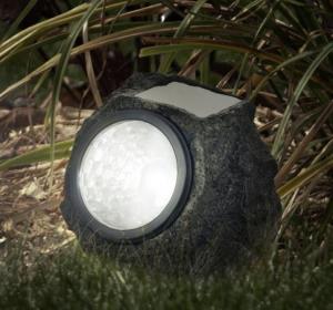 Quality Polyresin Stone Solar Lights / Solar Rock Landscaping Spotlights For Emergency for sale