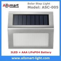Buy cheap AAA LiFePO4 3LED Solar Step Light Solar Powered White LED Staircase Step Lights Stairways Landscape Garden Path Lamp from wholesalers
