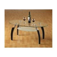 China oval glass and wood coffee table xymct-027 on sale