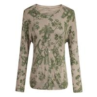 Spring / Autumn Green Flower Water Printed Knitting Sweater With Shell Buttons Manufactures