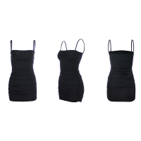 Buy cheap Spaghetti Straps Club Stretch 66cm Sleeveless Pleated Bodycon Dress from wholesalers