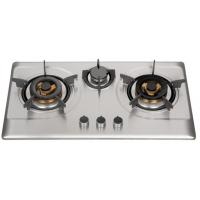 Silver Stainless Steel 3 Burner Gas Hob , Built In 3 Burner Stainless Steel Gas Stove Manufactures