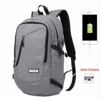 Unisex Daily Use College Student Backpack Light Weight Cotton Fabric In Black / Grey Manufactures