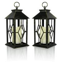 Vintage Indoor Black Lantern Flameless LED Candles With Plastic Wavy And Drip