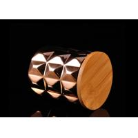 Diamond Pattern Ceramic Candle Holder Electroplating Surface with Wooden Lid Manufactures