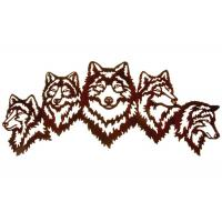 Vivid Five Wolves Contemporary Metal Wall Sculptures Popular Design Manufactures