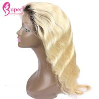 Buy cheap 100% Remy Virgin Hair Dark Roots Human Hair Blonde Wigs Tangle Free Shed Free from wholesalers