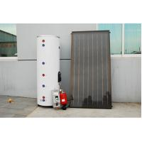 China Split pressurized solar hot water heater system with flat panel solar collectors, vertical storage tank , pump station on sale