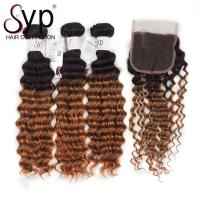 1B 30 Deep Wave Ombre Two Tone Hair Weave Bundle With Swiss 4*4 Lace Closure Manufactures