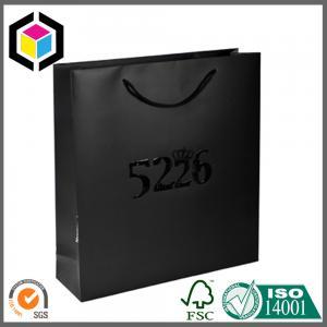 Quality Glossy Spot UV Luxury Gift Bag; Dark Black Matte Color Paper Carrier Bag for sale
