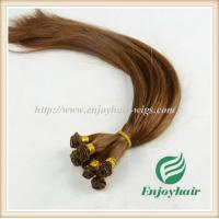 Hand tied weaviing Brazilian 5A virgin remy hair, 6#color straight hair extension weaves Manufactures