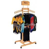 T Shirt Wood Clothing Store Fixtures Retail Display Shelves With Casters Manufactures