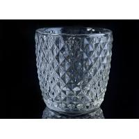 Diamond Shape decorative candle holders Embossed glass tealight candle holders Manufactures