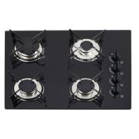 Black Tempered Glass Top Gas Hob / 4 Burner Cooktop With Enamel Pan Support Manufactures