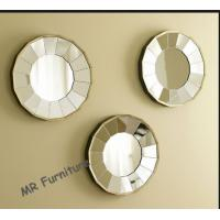 3 Set Decor Mirror For Living Room , Tray Plate Decorative Mirror Decals Manufactures