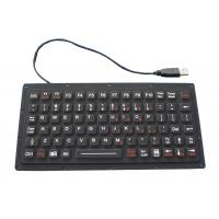 IP65 81 Keys Thin Black Silicone Rubber Keyboard  , 222.0mm X 100mm X 9.1mm Size Manufactures