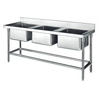 Commercial Stainless Steel Sink Three Bowl 1800*700*800+150mm Thick 1.2mm Manufactures