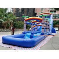 water slide factory PVC Tarpaulin  coconut tree inflatable commercial slide with pool  For Event inflatable Bounce Slide Manufactures
