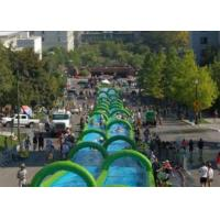 Outdoor Inflatable Slide The City Huge Water Slide 2 Lanes Quadruple Stitching Manufactures