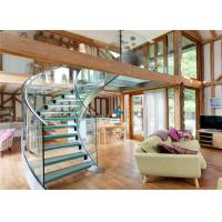 U Channel Curved Deck Stairs Designs Glass Railings System Screw Bolted Installation Manufactures