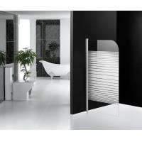 White Stripe Bathtub Shower Screen Glass Pivot Open Type For Bathroom Manufactures