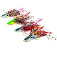 Buy cheap 5 PCS 40g Fishing Lure Set Lead Head Jigging Lures Spinner baits PVC Fishing Worm Bionic Artificial from wholesalers