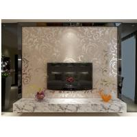 China European Style Embossed Vinyl Wallpaper Silver Grey Leaf Pattern for Home , Hotel on sale