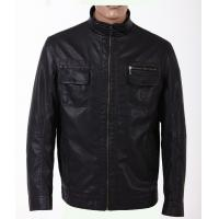 No buttons Casual jackets Two side pockets  Mens Lightweight Leather Jackets Manufactures