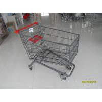 Large Capacity 4 Wheel Supermarket Shopping Trolley With Red Handle Manufactures