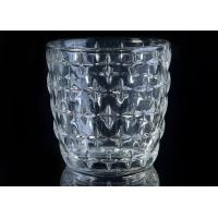Eco - Friendly 300ml Clear Glass Candle Holders With Nail Embossed Pattern Manufactures