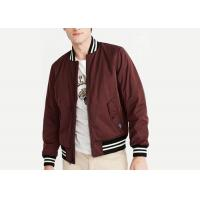 Burgundy Padded Mens Polyester Bomber Jacket Stirp Ribs Triacitate Coat Twin Needle Stitch Manufactures