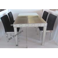 Customized Size Toughened Glass Dining Table , Home Mirrored Dining Furniture Manufactures
