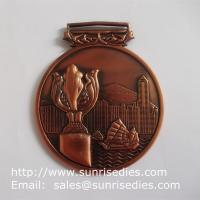 3D embossed medals and medallions, personalized metal medal with ribbon lace Manufactures