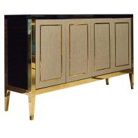 China Brass metal frame black finish 4-door console cabinet/media console for hotel bedroom furniture,hospitality casegoods on sale