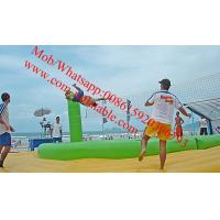 Bossaball striker kicking the ball inflatable volleyball court Manufactures