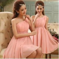 New Arrival Pink One Shoulder Chiffon Short Homecoming Dress with size S/M/L/XL Women Mini Formal Dress Free Shipping