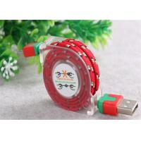 Customized USB To Micro USB Retractable Cable , Fabric Braided Micro USB Cable Manufactures
