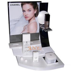 Plexiglass Cosmetic Makeup Organizer Retail POS Displays White Retail Ladder Shaped Manufactures