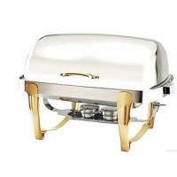 Quality Titanium Coating Oblong Chafing Dish Roll Top Lid Gold Legs and Handle 2-Compartment Stainless Steel Food Container for sale