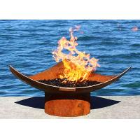 Corten Steel Modern Fire Bowls Outdoor , Large Metal Fire Pit 50cm Height Manufactures