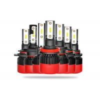 All In One LED Car Headlight Bulbs High Low Beam With Black Red Housing Manufactures