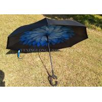 "23"" * 8K Windproof Reverse Umbrella , Reverse Close Umbrella That Closes Inside Out Manufactures"