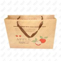 Quality 200gsm Personalized Paper Bag, Brown Kraftpaper Shopping Bags With Ribbon Handle For Fruit for sale