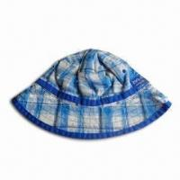 Boy's Bucket Hat, Made of Cotton Checked Fabric with Cotton Lining Manufactures