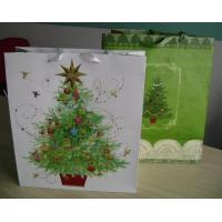 200gms Merry Chfristmas Gift Customized Paper Bag With Ribbon Handle Manufactures