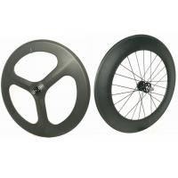 Light Weight 3 Spoke Carbon Track Bike Wheels 700C 20MM Width Anti High Temperature Manufactures