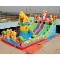 Giant gorilla inflatable bouncer playground fun city with big slide and climbing wall Manufactures