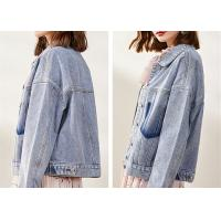 Womens Washed Ladies Denim Jacket Classic Stretch Trucker Jacket Loose Fit Manufactures