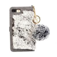 China Flip Wallet Fur Leather Phone Case for iPhone 7Plus, For iPhone 8 Plus Fur Wallet Case on sale